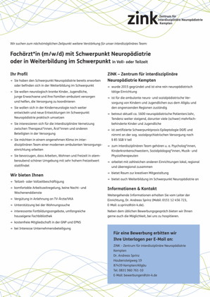 Fachärzt*in (m/w/d) mit Schwerpunkt Neuropädiatrie oder in Weiterbildung im Schwerpunkt